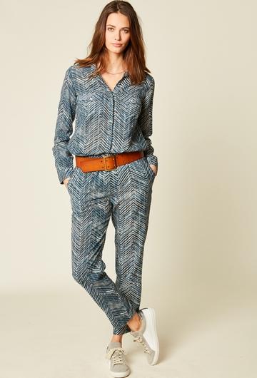 Pantalon pyjama en voile de coton avec fils lurex. Deux
