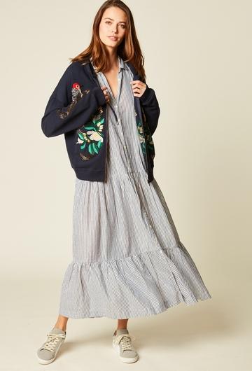 Robe chemise longue imprimée en coton. Deux Volants. Fils