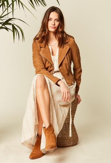 Robe longue imprimée en voile de coton et agrémentée de fils