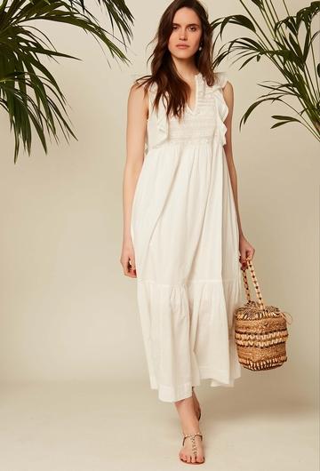 Robe longue à manches courtes en voile de coton avec petits