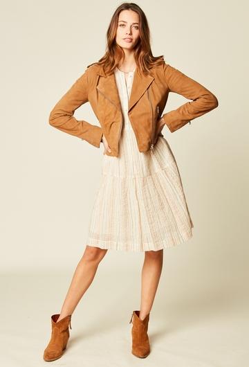 Robe courte imprimée en voile de coton et agrémentée de fils