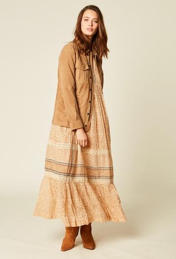 Veste saharienne en velours de chèvre. Fermeture éclair et