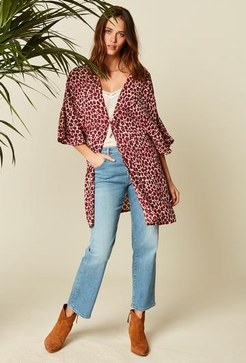 Kimono large imprimé en viscose crépon (crinkle). Manches