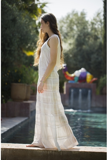 La robe RUBANE signée Stella Forest de couleur écru est