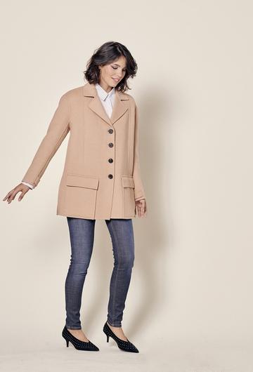 Manteau court en double face avec fermeture boutons et deux