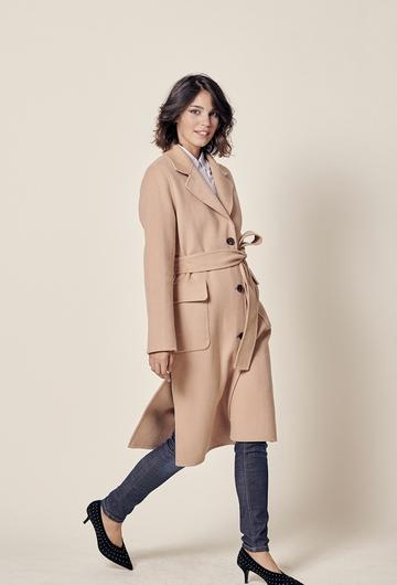 Manteau long en double face avec fermeture bouton et deux