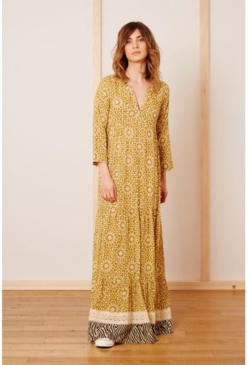 La robe Longue MOSAIQUE signée Stella Forest à l'imprimé