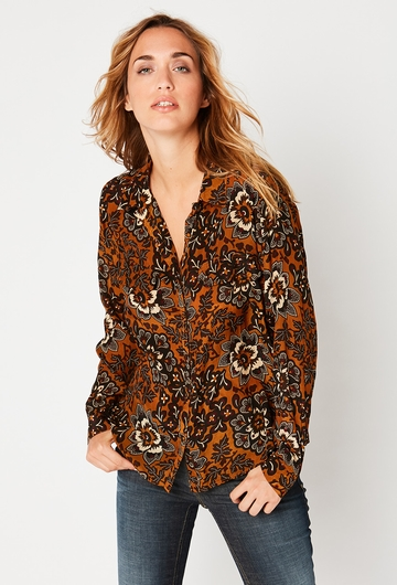 CHEMISE BALINAISE :  - Col V, - Manches longues, - Fermeture