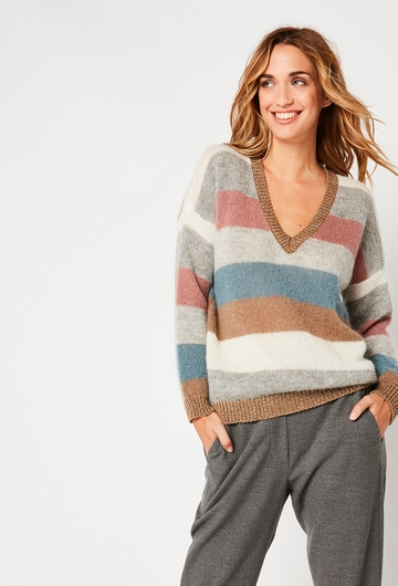 Notre Pull Ravel: - Col V - Pull a rayure - Coupe carrée, -