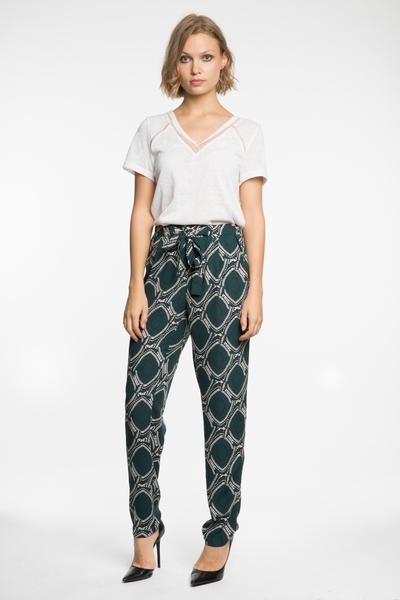Pantalon fliude Scarlet Roos, taille élastique, ceinturée,