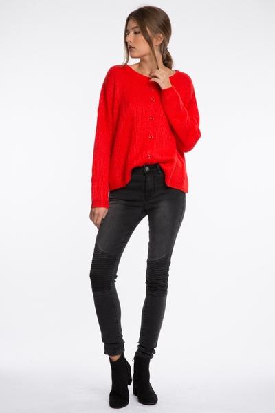 Jean Vila, coupe skinny, stretch, cinq poches, genouillère