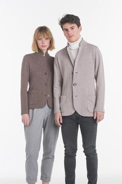 Veste tailleur Homme à col montant, 100% Cachemire, 2