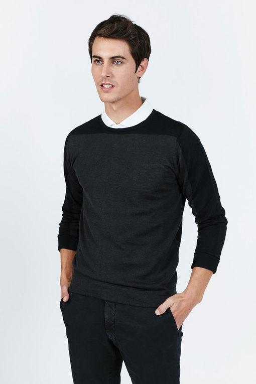 Pull col rond by Spontini pour homme. - Bicolore, intersia -