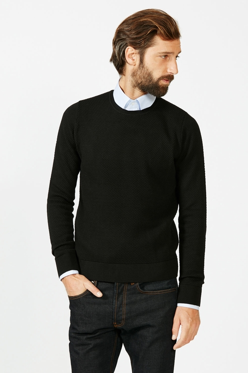 Pull ras de cou by spontini - col rond - coupe droite