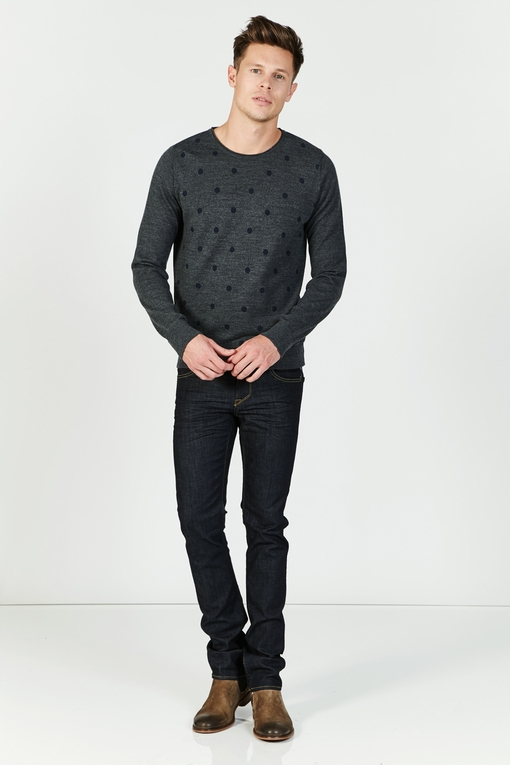 Pull col rond by Spontini pour homme. - 50% laine - 50%