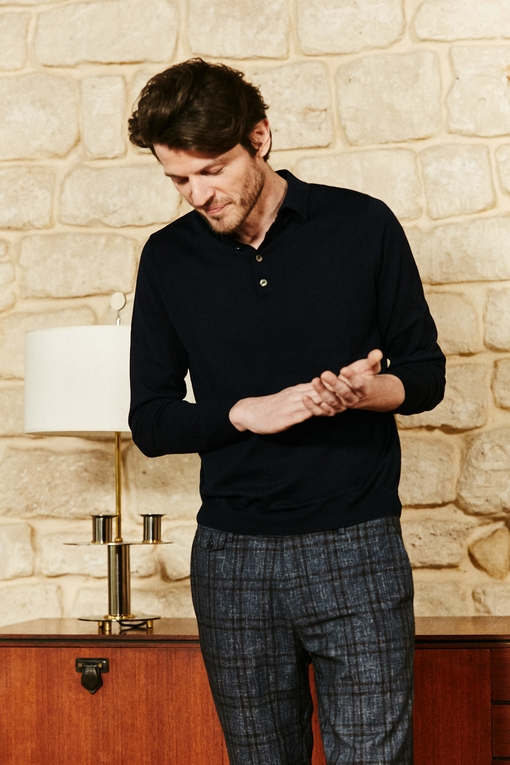 Polo en coton et soie by Spontini pour homme. - Manches