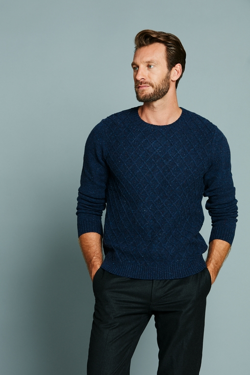 Pull col rond by Spontini pour homme. - Maille anglaise -
