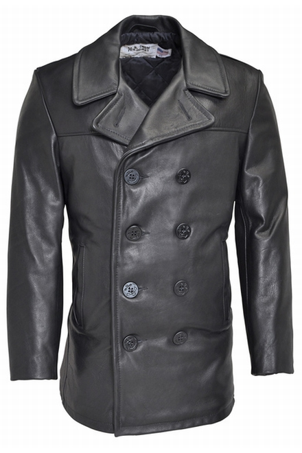 Notre 32 veste caban en cuir du style du Peacoat de la Navy