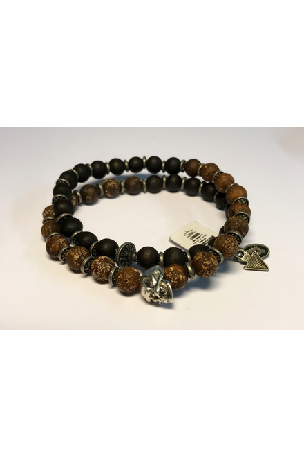 Double bracelet, 8mm semi-precious Old Crackle beads and 6mm