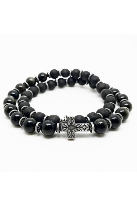Bracelet double tour, perle 8mm semi précieuse Obsidian et