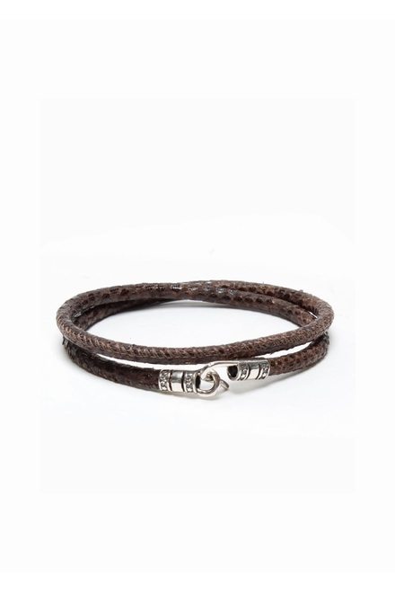 Bracelet double tour Python naturel 5mm, fermoir argent 925.