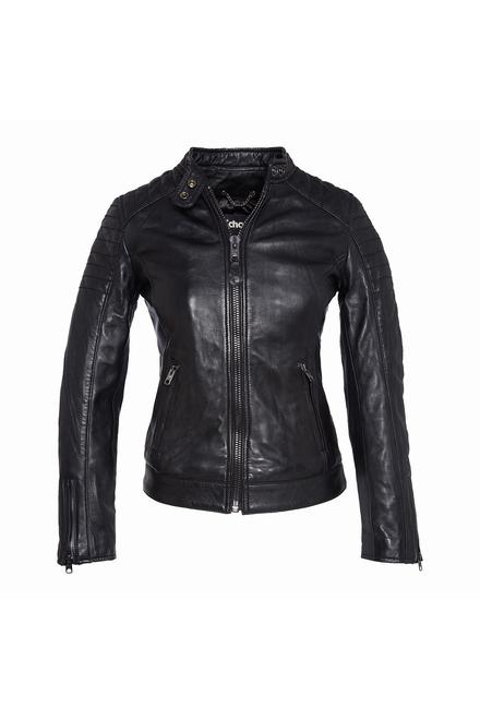Blouson cuir motard femme - Fermeture zippée - 2 Poches