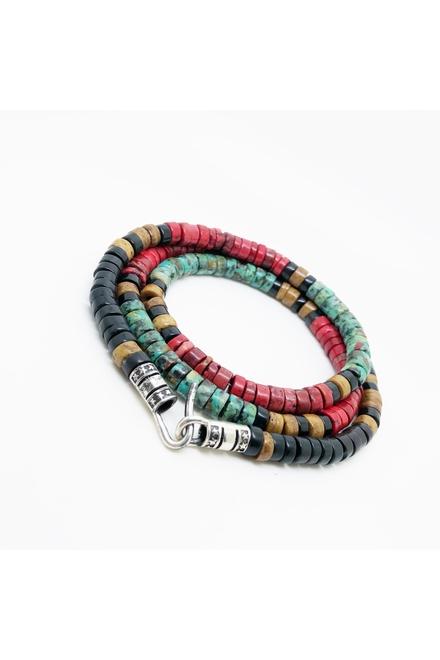 Bracelet double tour Python naturel 5mm, fermoir argent 925.