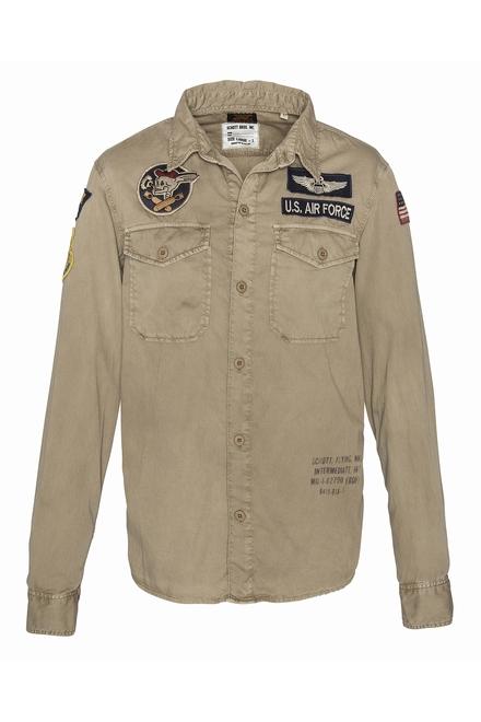 chemise chambray militaire Schott Fermeture boutonnée