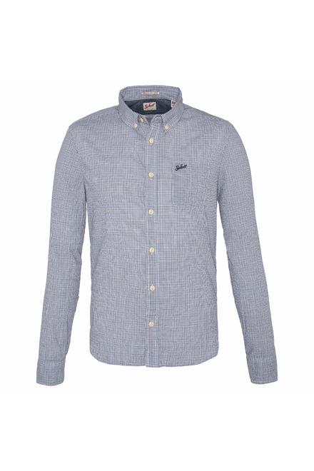 chemise a carreaux broderie Schott Fermeture boutonnée