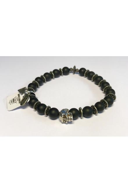 Bracelet confectionné avec des Perles semi-précieuses Onix .