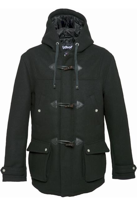 duffle coat laine Capuche fixe ajustable Fermeture zippée à